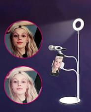 Набор Блогера 3в1 Гибкий штатив с LED Кольцом, держатель для смартфона и микрофона на подставке, фото 2