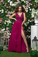 Длинное женское малиновое платье с гипюром 42,44,46