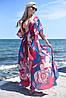 Женская пляжная туника  в пол с поясом на завязку (42-46)