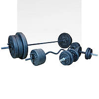 Комплект 142 кг | Штанга пряма і з W-подібним грифом + гантелі, фото 1