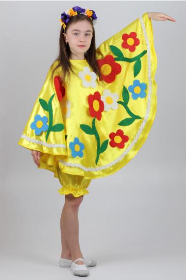 Карнавальный костюм Весна-Лето жёлтый для девочек 5-8 лет