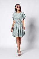 Нежное стильное и легкое летнее женское платье мятное в мелкий цветочный принт