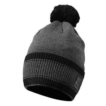 Мужская шапка с бубоном тёмно-серый