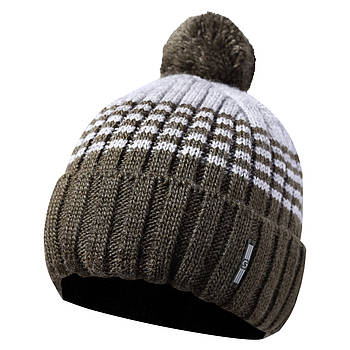 Вязаная мужская шапка с бубоном хаки