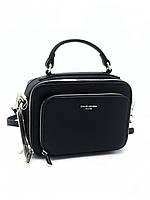 Женская черная сумка на три отдела Девид Джонс David Jones СМ3966-Т-1