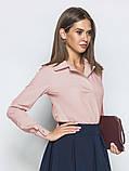 Однотонная блузка прямого кроя с отложными воротником и длинным рукавом, фото 9