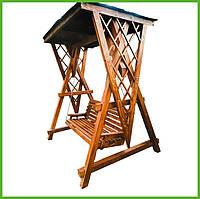 """Садовая качель из натурального дерева """"Вертиго"""" от производителя, деревянная качеля для террасы дома заведения"""