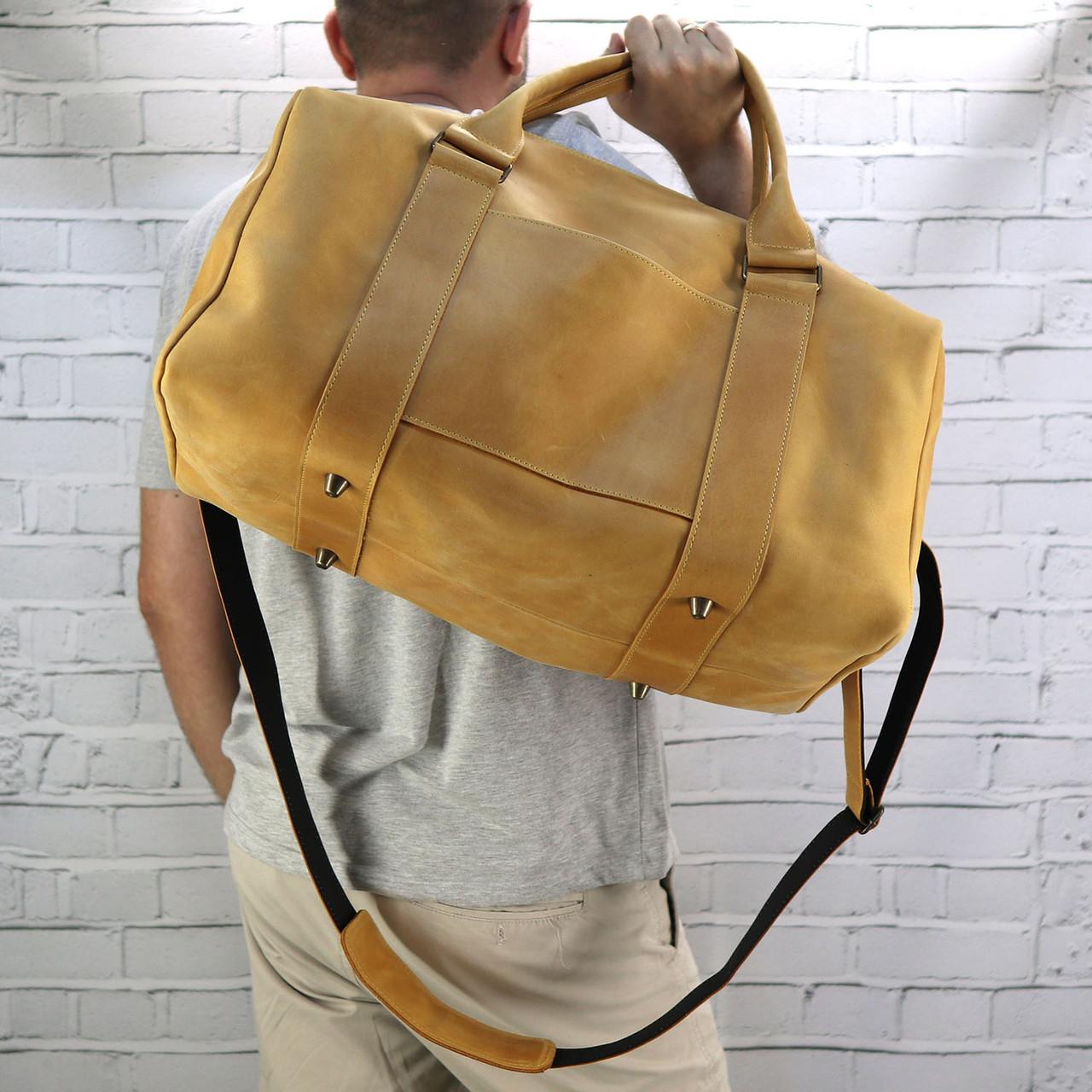 Дорожная сумка cube long желтая из натуральной кожи crazy horse