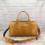 Дорожная сумка cube long желтая из натуральной кожи crazy horse, фото 2