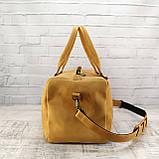 Дорожная сумка cube long желтая из натуральной кожи crazy horse, фото 4