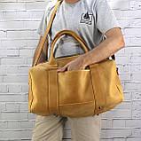 Дорожная сумка cube long желтая из натуральной кожи crazy horse, фото 5