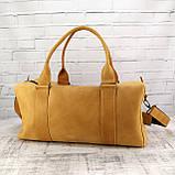 Дорожная сумка cube long желтая из натуральной кожи crazy horse, фото 6