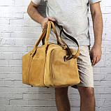 Дорожная сумка cube long желтая из натуральной кожи crazy horse, фото 7