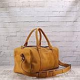 Дорожная сумка cube long желтая из натуральной кожи crazy horse, фото 8