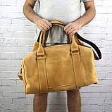 Дорожная сумка cube long желтая из натуральной кожи crazy horse, фото 9