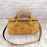 Дорожная сумка cube long желтая из натуральной кожи crazy horse, фото 10