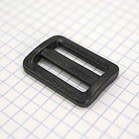 Регулятор пряжка перетяжка 25 мм пластиковая черная для сумок a3626 (100 шт.)