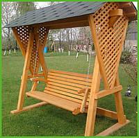 """Садовая качель из натурального дерева """"Милита"""" от производителя, деревянная качеля для террасы дома заведения"""