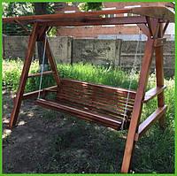 """Садовая качель из натурального дерева """"Простая"""" от производителя, деревянная качеля для террасы дома заведения"""