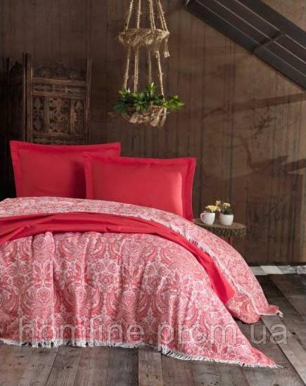Плед-покрывало накидка Eponj Home 240*260 Naturel Porto kirmizi красный