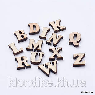 Кабошоны Деревянные, Вырезанные Лазером, Алфавит, 14~19.5×8~21×3.5~4 мм, Цвет: Светло-коричневый (20 шт.)