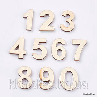 Кабошоны Деревянные, Вырезанные Лазером, Цифры, 29~30×12.5~23×3.5~4 мм, Цвет: Светло-коричневый (10 шт.)