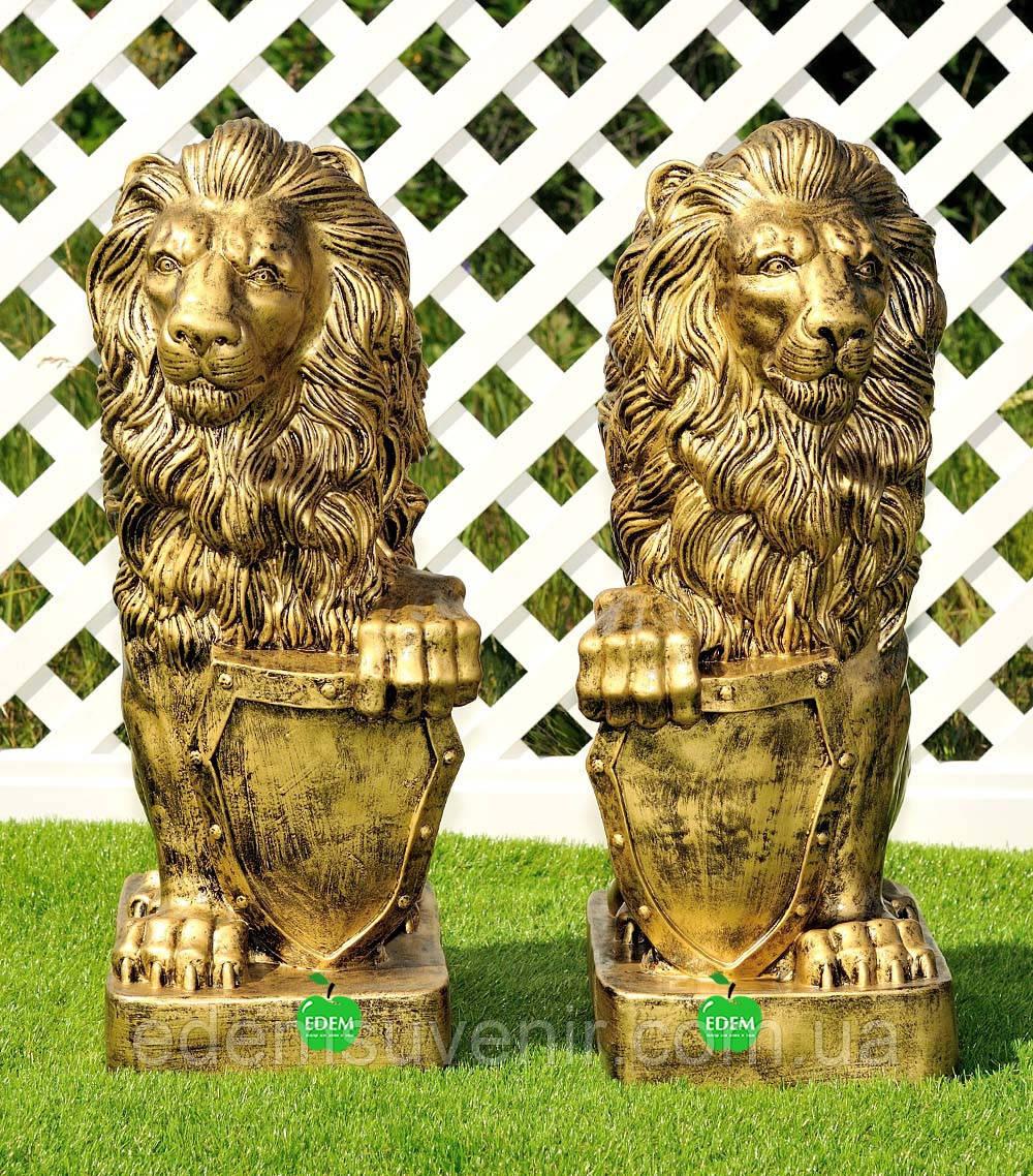 Садовая фигура Лев с левым и Лев с правым щитом большие