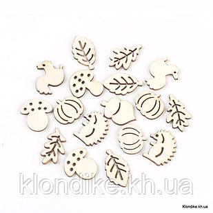 Кабошоны Деревянные, Вырезанные Лазером, Разные, 19~27.5×15~25×2.5 мм, Цвет: Античный Белый (20 шт.)