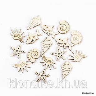 Кабошоны Деревянные, Морской Стиль, 20~34×18.5~25.5×2.5 мм, Цвет: Светло-коричневый (20 шт.)