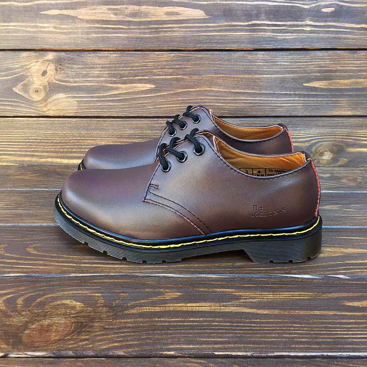 Мужские кожаные полуботинки/туфли в стиле Dr. Martens 1461 Brown