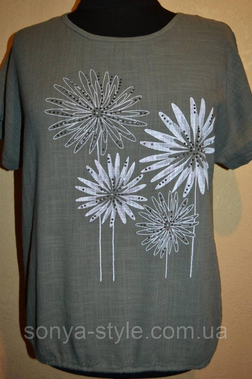 Женские леновые футболки больших размеров