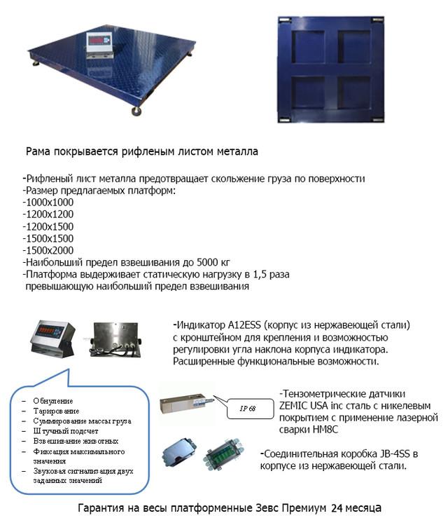 весы платформенные ЗЕВС ПРЕМИУМ ВПЕ-1000-4(H1515)