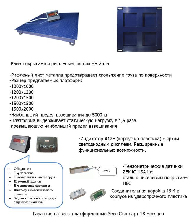 Весы платформенные ЗЕВС СТАНДАРТ ВПЕ-2000-4(H1010)