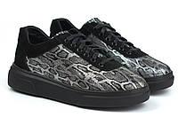 Леопардовые кроссовки кожа серебряные женская обувь больших размеров Rosso Avangard Mozza Leopard Leather BS
