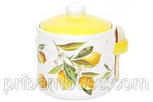 Банка керамическая 450мл с деревянной ложкой Сочные лимоны