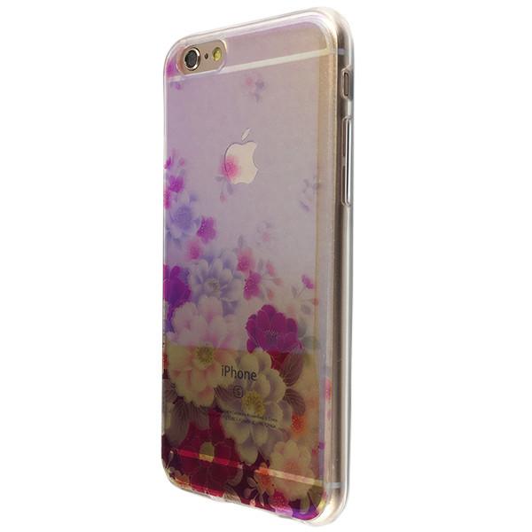 Чохол прозорий лакований квіти for Apple iPhone 6/6S Plus (01)