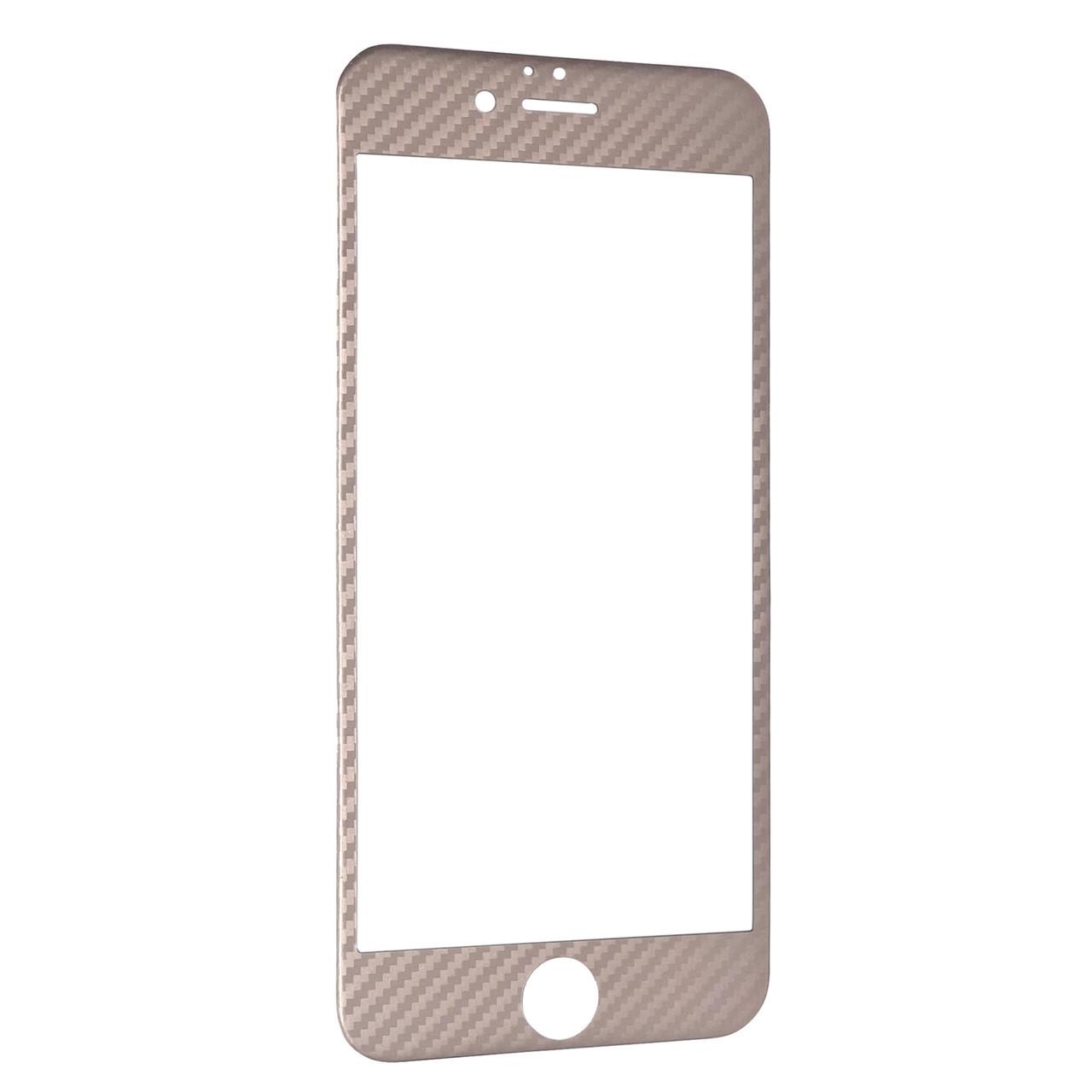 Захисне скло for Apple iPhone 6/6S carbon плоский face rose gold