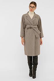 Пальто осеннее двубортное коричневое шерсть  42, 44, 46, 48