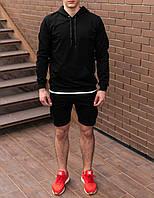 Чоловіче худі світшот трикотаж чорний S,M,L,XL|мужской худи спорт свитшот толстовка черный 44 46 48 50