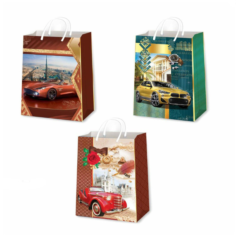 Подарочные пакеты мужские размер 26х17 см (12 шт/уп)