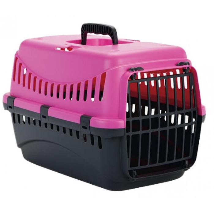 Переноска ДЖИПСИ 1 GIPSY 1 small для маленьких собак и кошек, пластиковые двери, 44 x 28,5 x 29,5 см, розовая