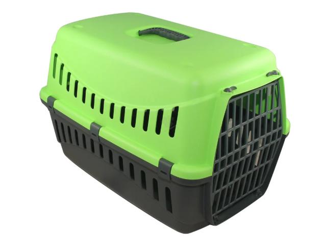 Переноска ДЖИПСИ 1 GIPSY 1 small для маленьких собак и кошек, пластиковые двери, 44 x 28,5 x 29,5 см, зелёная