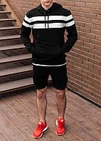 Чоловіче худі світшот трикотаж чорний S,M,L,XL|мужской худи спорт свитшот толстовка черный полоска 44 46 48 50