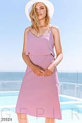 Легкий костюм с юбкой и топом розовый