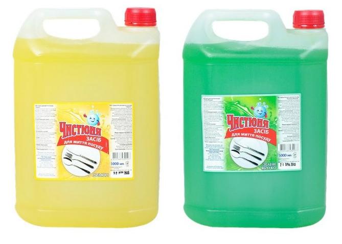 Моющее средство для посуды Лимон, Зеленое яблоко 5,0л