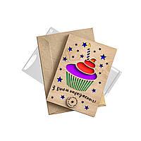 """Открытка из дерева """"З Днем Народження"""" Candy Shop"""