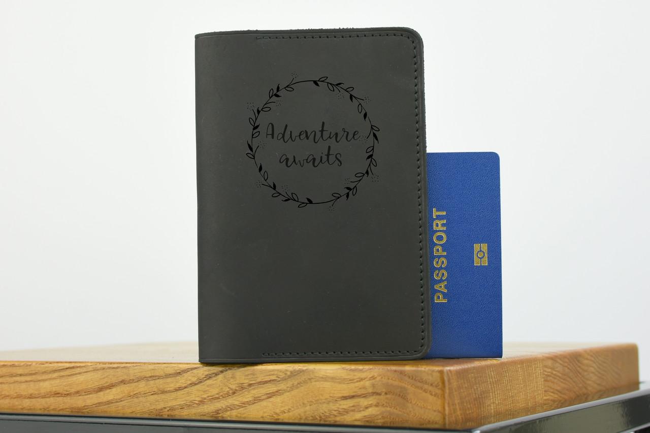 """Обложка для паспорта черного цвета """"london"""""""