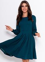 Классическое платье с длинными рукавами ISSA PLUS 11060 S-XL (44-50) Темно-зеленыйТемно-синий