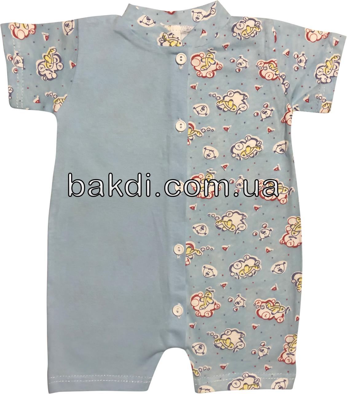 Детский летний тонкий песочник рост 56 0-2 мес хлопковый кулир голубой на мальчика ромпер для новорожденных