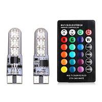 2шт. LED лампа T10 W5W с пультом ДУ 6 SMD 5050, 16 цветов